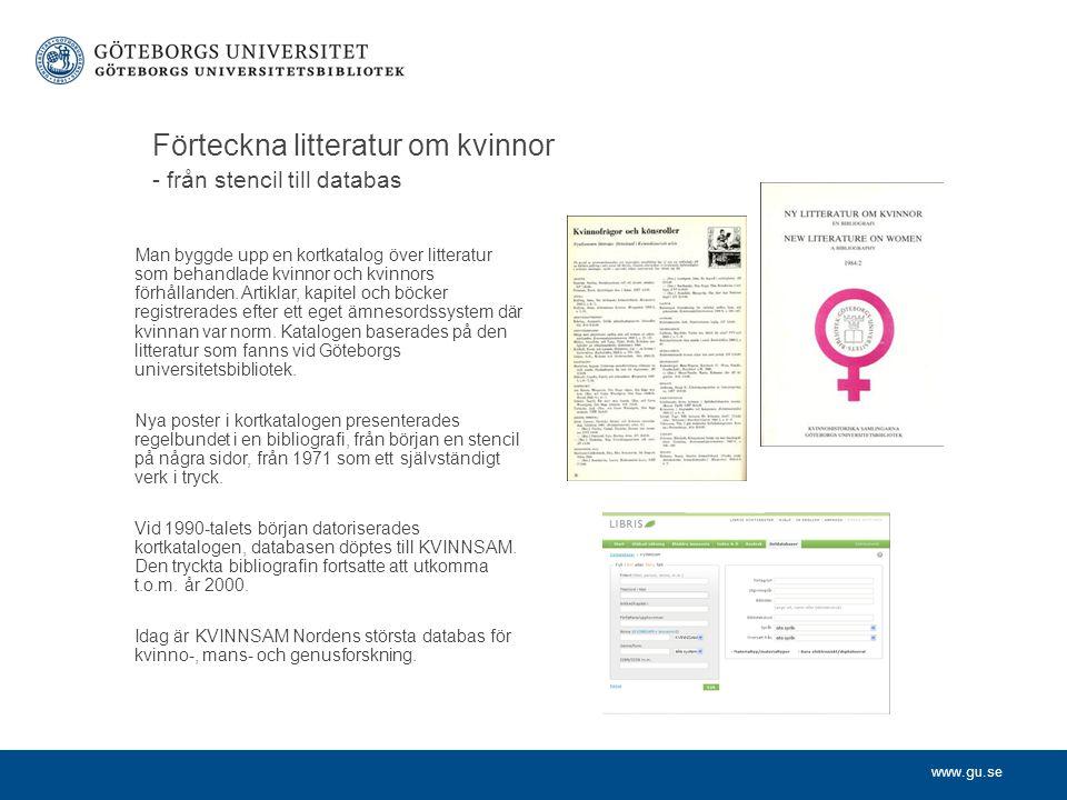 Förteckna litteratur om kvinnor - från stencil till databas
