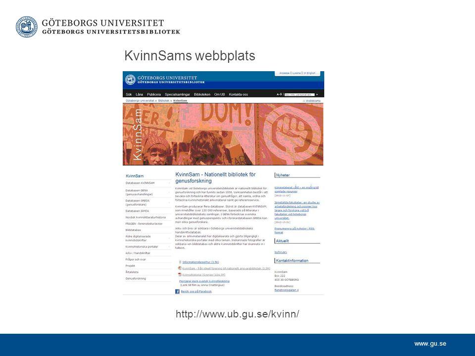 KvinnSams webbplats http://www.ub.gu.se/kvinn/