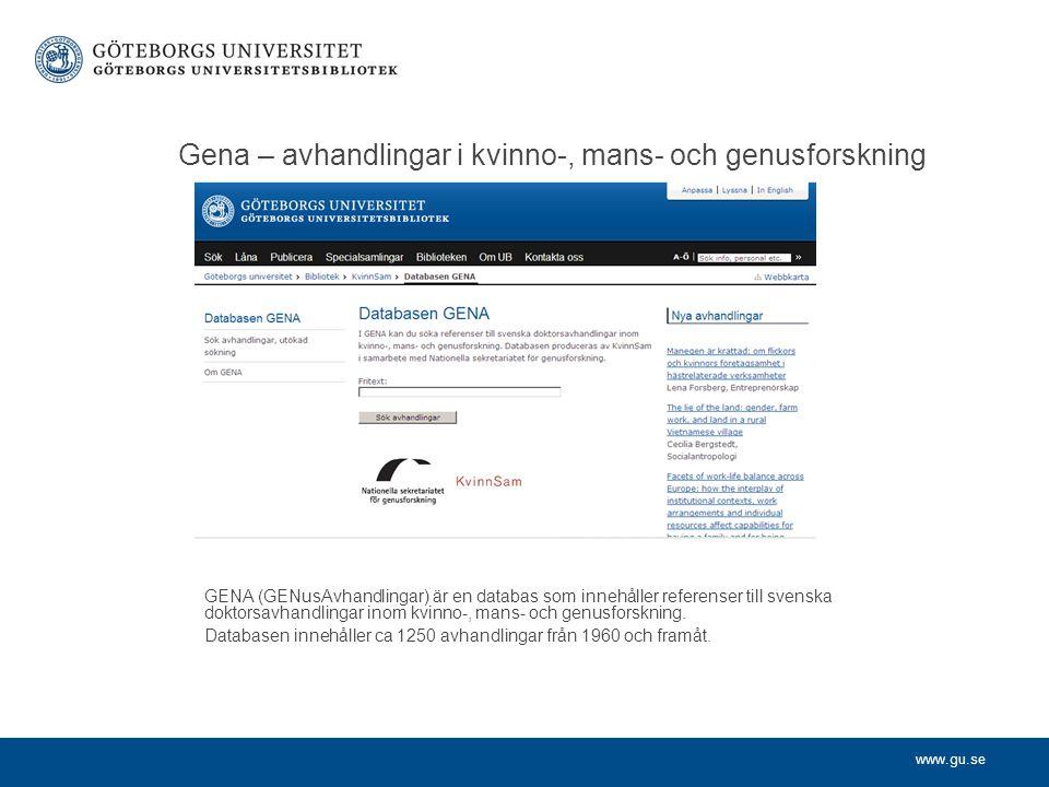 Gena – avhandlingar i kvinno-, mans- och genusforskning