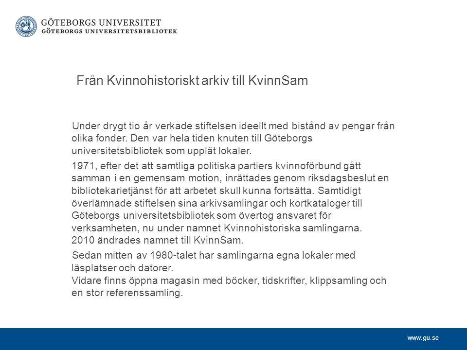 Från Kvinnohistoriskt arkiv till KvinnSam