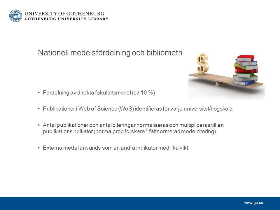 Nationell medelsfördelning och bibliometri