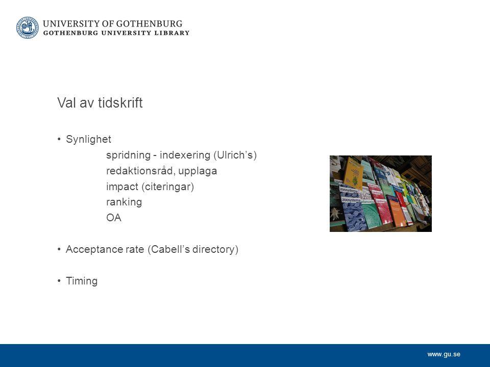Val av tidskrift Synlighet spridning - indexering (Ulrich's)