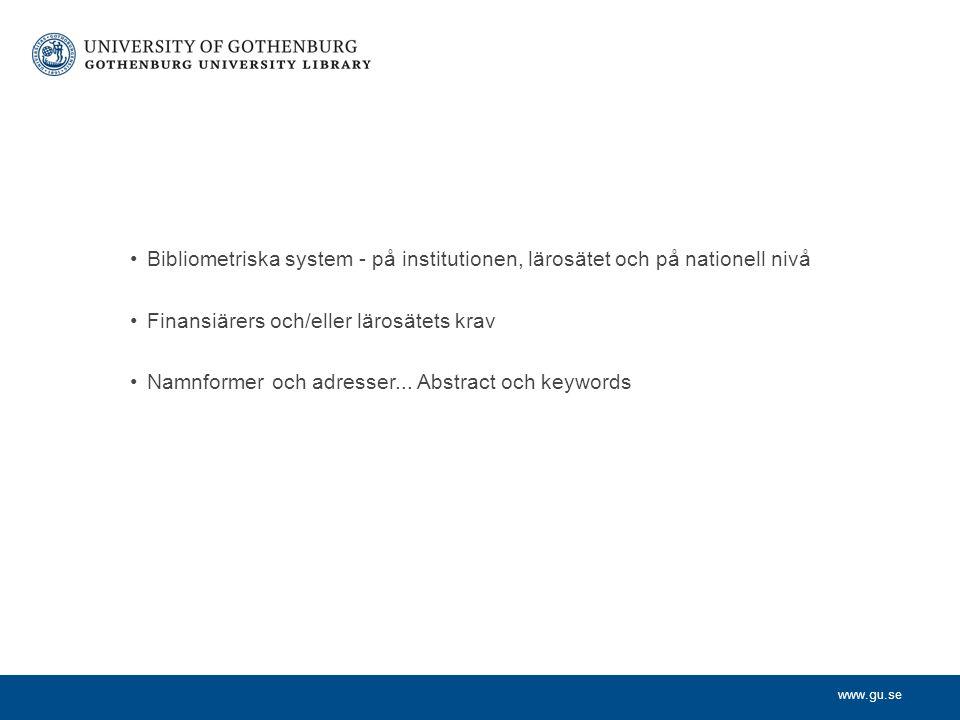 Bibliometriska system - på institutionen, lärosätet och på nationell nivå