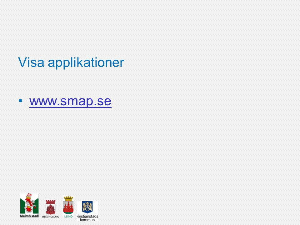 Visa applikationer www.smap.se