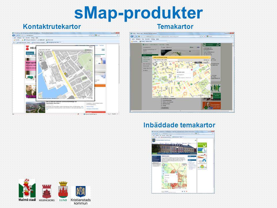 sMap-produkter Kontaktrutekartor Temakartor Inbäddade temakartor