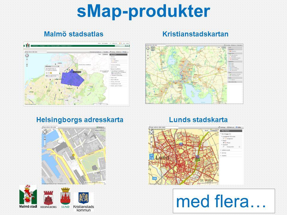 sMap-produkter med flera… Malmö stadsatlas Kristianstadskartan