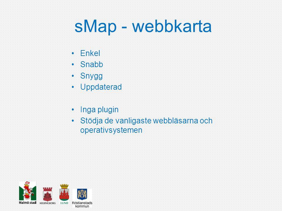 sMap - webbkarta Enkel Snabb Snygg Uppdaterad Inga plugin