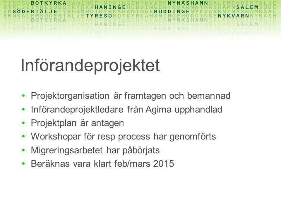 Införandeprojektet Projektorganisation är framtagen och bemannad
