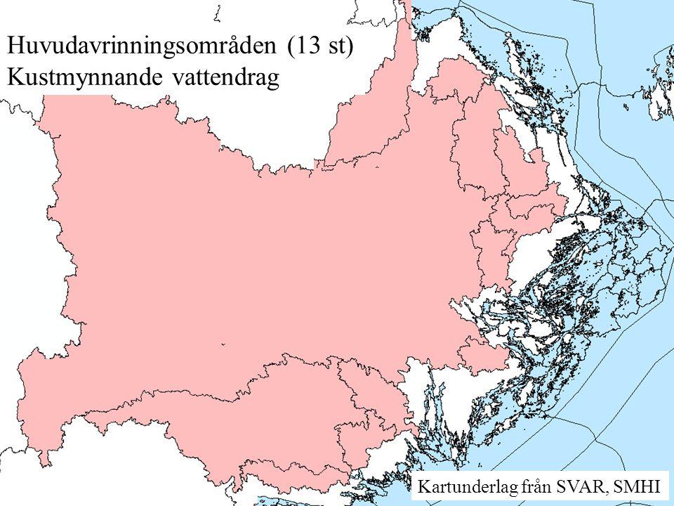 Huvudavrinningsområden (13 st) Kustmynnande vattendrag