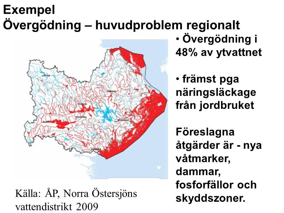 Exempel Övergödning – huvudproblem regionalt