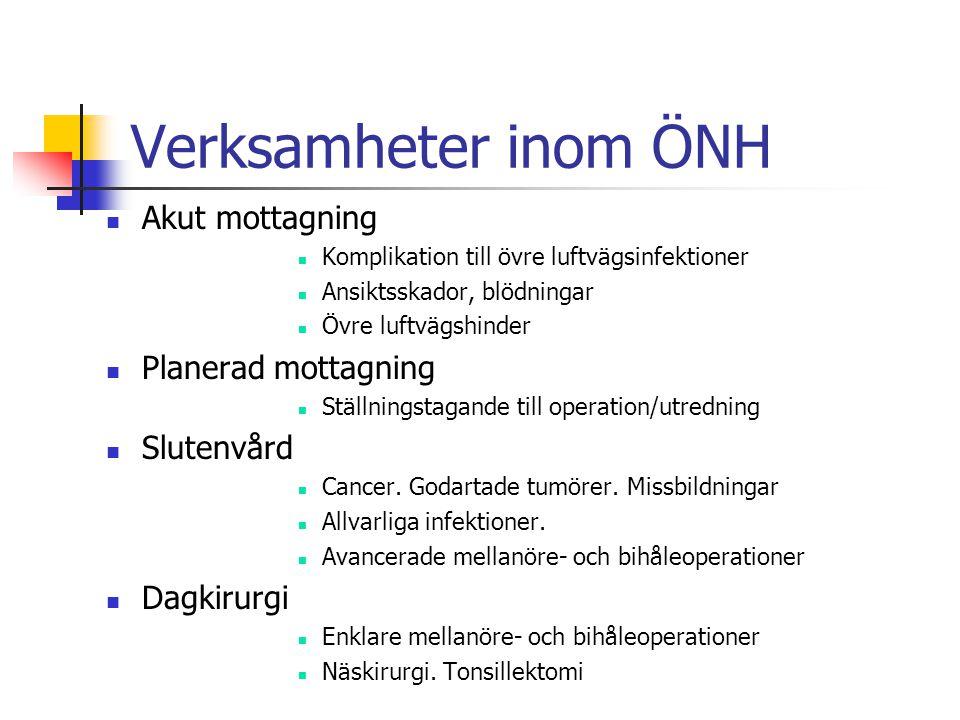 Verksamheter inom ÖNH Akut mottagning Planerad mottagning Slutenvård
