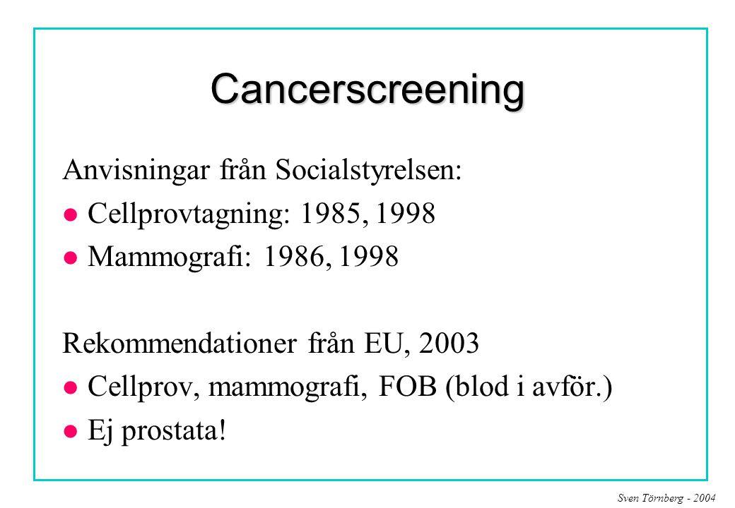 Cancerscreening Anvisningar från Socialstyrelsen:
