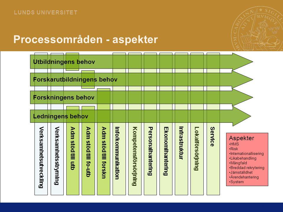 Processområden - aspekter