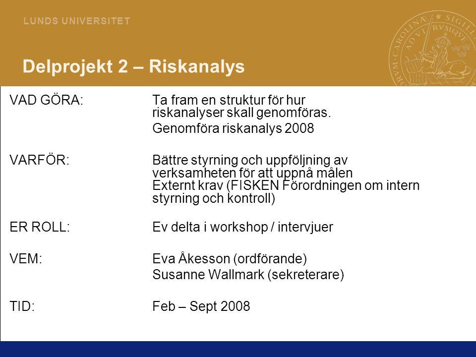 Delprojekt 2 – Riskanalys