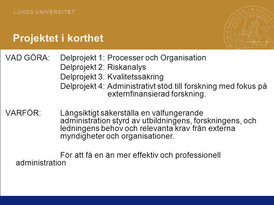 Projektet i korthet VAD GÖRA: Delprojekt 1: Processer och Organisation