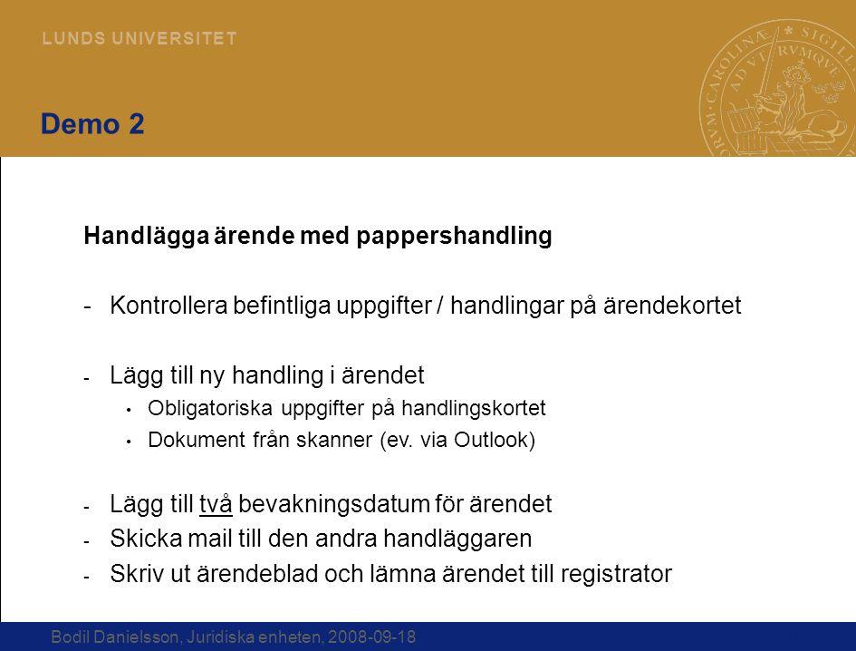 Demo 2 Handlägga ärende med pappershandling