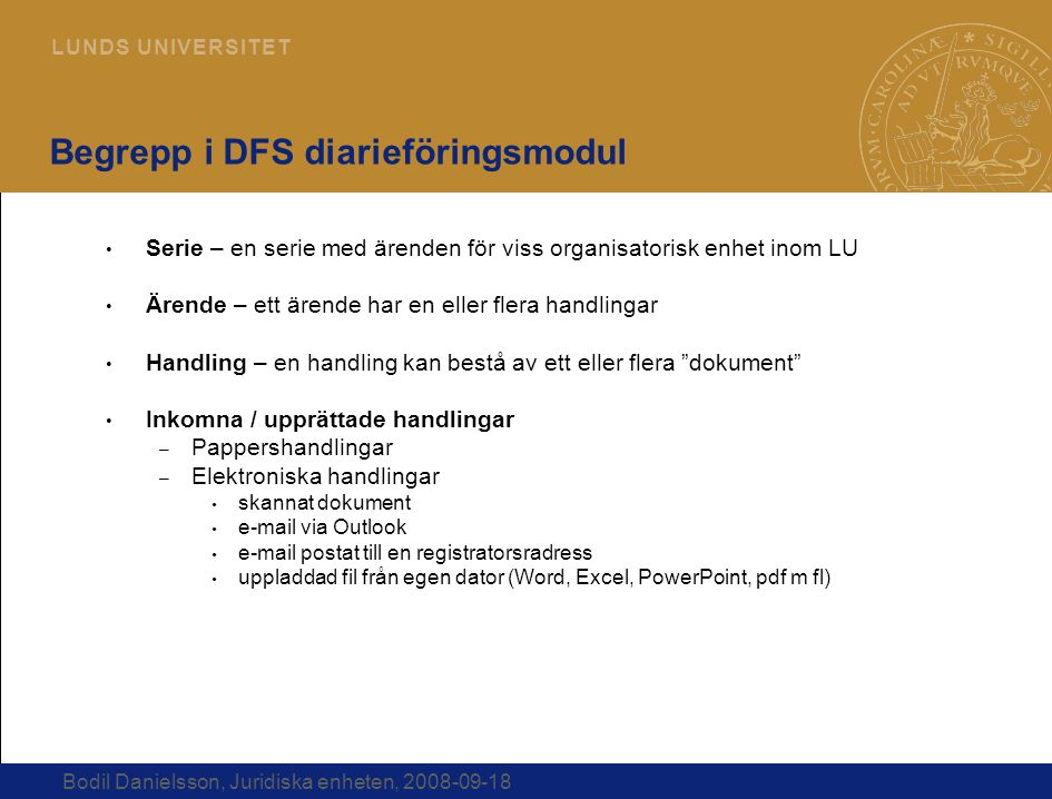 Begrepp i DFS diarieföringsmodul