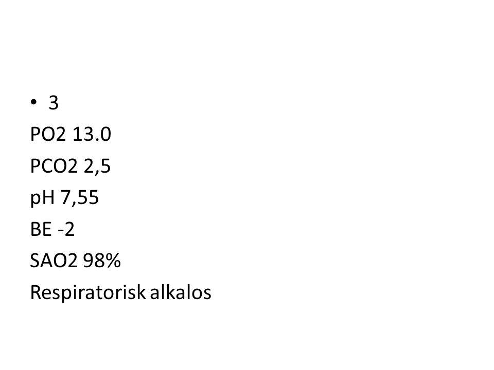3 PO2 13.0 PCO2 2,5 pH 7,55 BE -2 SAO2 98% Respiratorisk alkalos