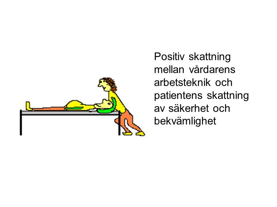 Positiv skattning mellan vårdarens arbetsteknik och patientens skattning av säkerhet och bekvämlighet