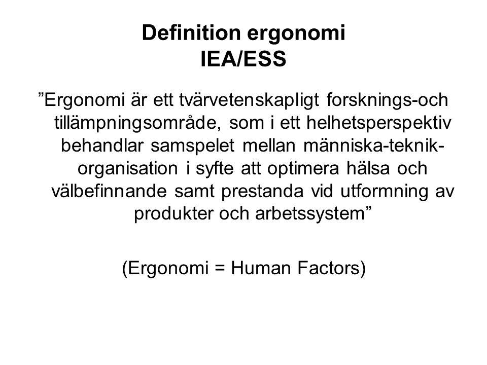 Definition ergonomi IEA/ESS