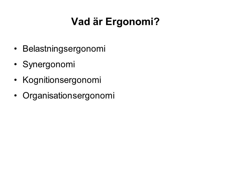 Vad är Ergonomi Belastningsergonomi Synergonomi Kognitionsergonomi