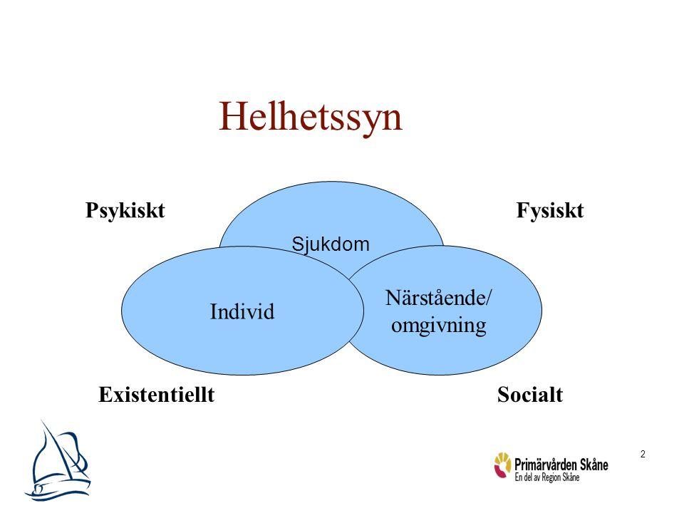 Helhetssyn Psykiskt Fysiskt Individ Närstående/ omgivning