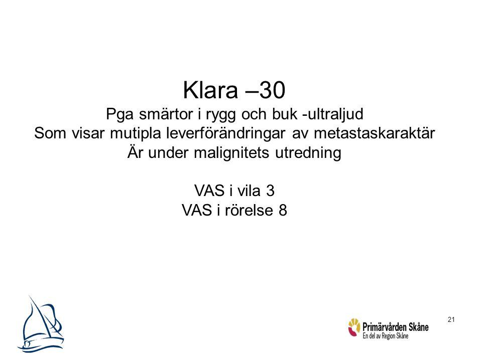 Klara –30 Pga smärtor i rygg och buk -ultraljud
