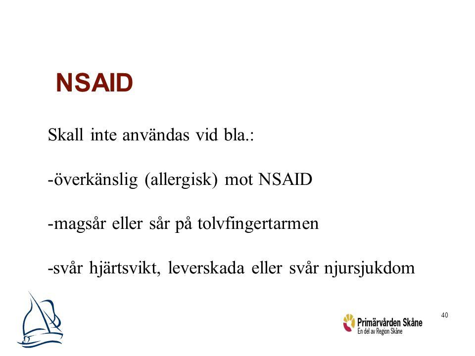 NSAID Skall inte användas vid bla.: överkänslig (allergisk) mot NSAID