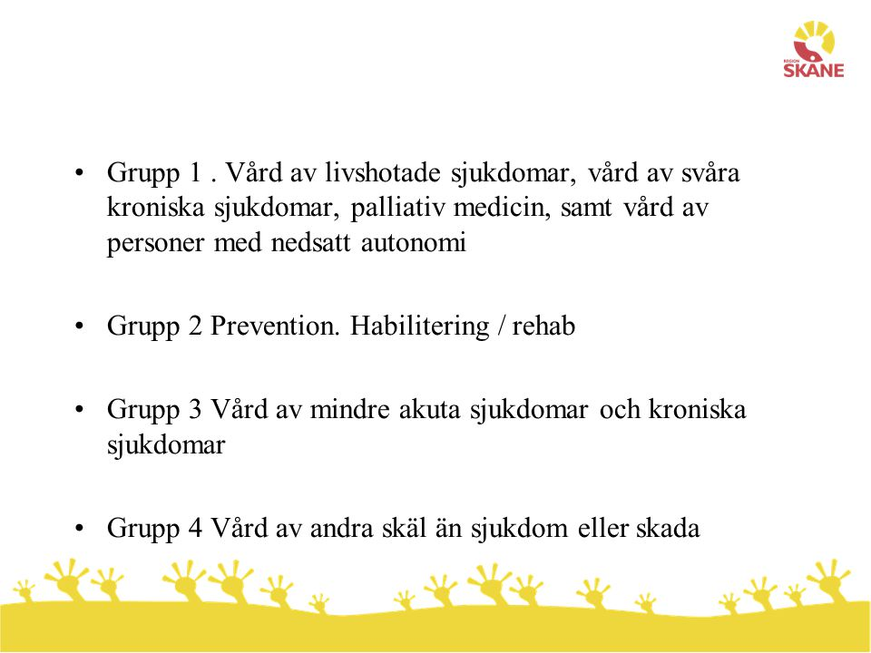 Grupp 2 Prevention. Habilitering / rehab