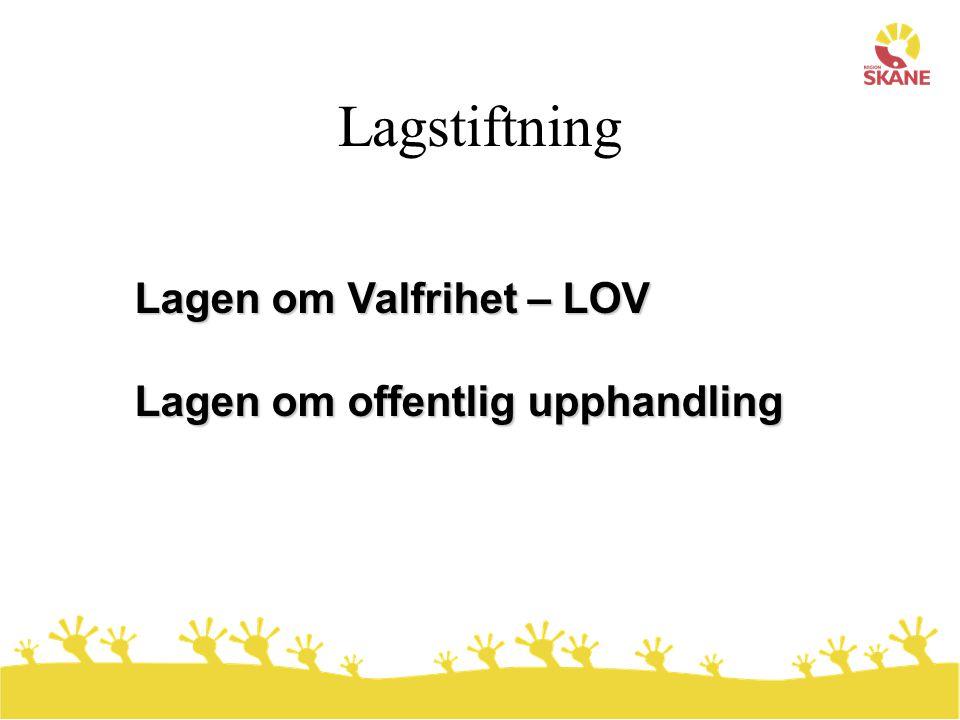 Lagstiftning Lagen om Valfrihet – LOV Lagen om offentlig upphandling