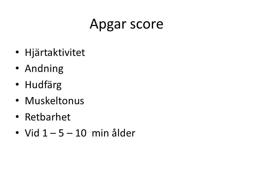 Apgar score Hjärtaktivitet Andning Hudfärg Muskeltonus Retbarhet