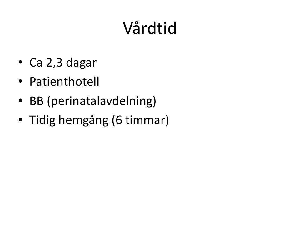 Vårdtid Ca 2,3 dagar Patienthotell BB (perinatalavdelning)
