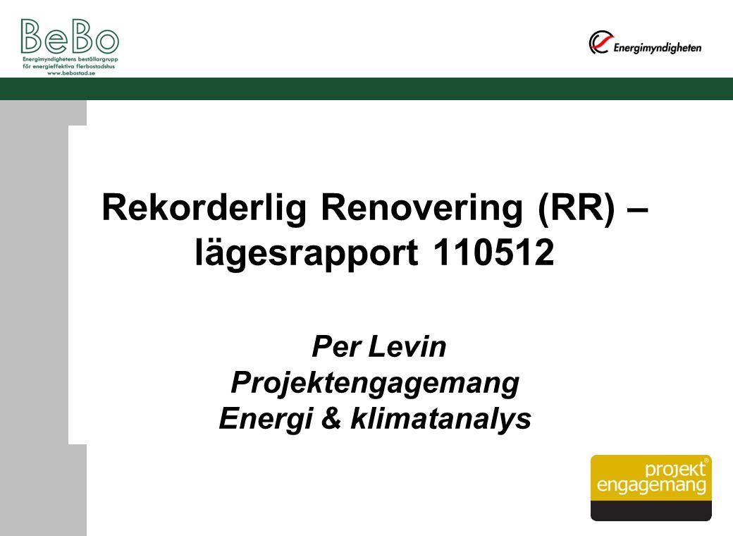 Rekorderlig Renovering (RR) – lägesrapport 110512 Per Levin Projektengagemang Energi & klimatanalys