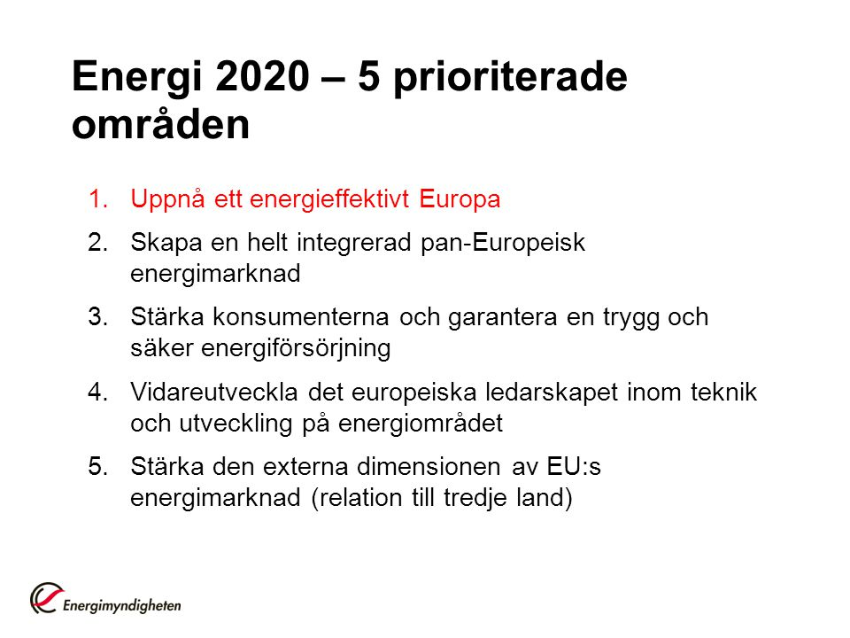 Energi 2020 – 5 prioriterade områden