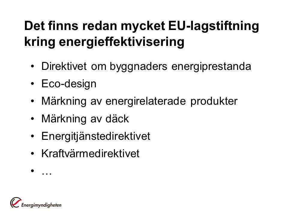 Det finns redan mycket EU-lagstiftning kring energieffektivisering
