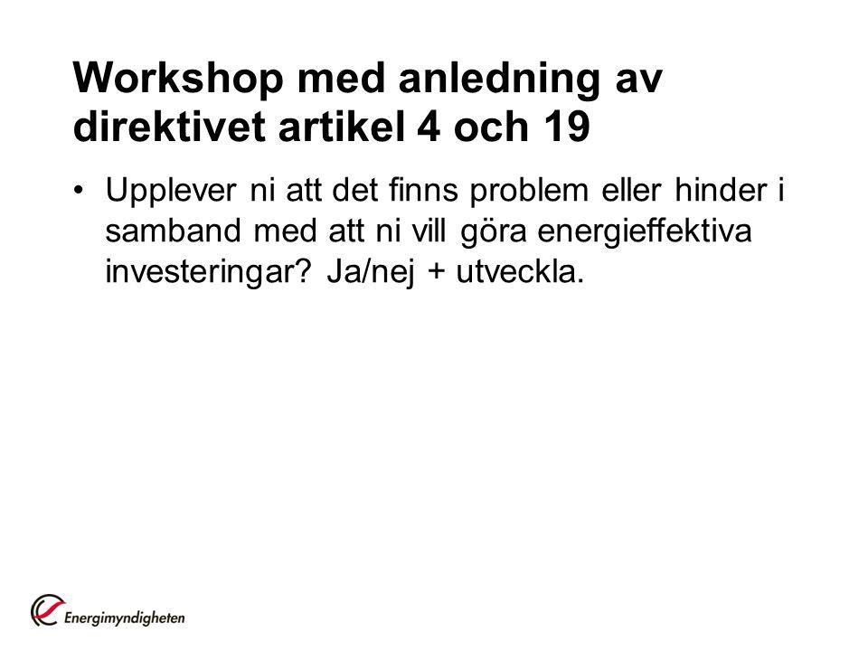 Workshop med anledning av direktivet artikel 4 och 19