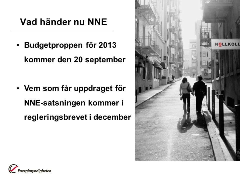 Vad händer nu NNE Budgetproppen för 2013 kommer den 20 september