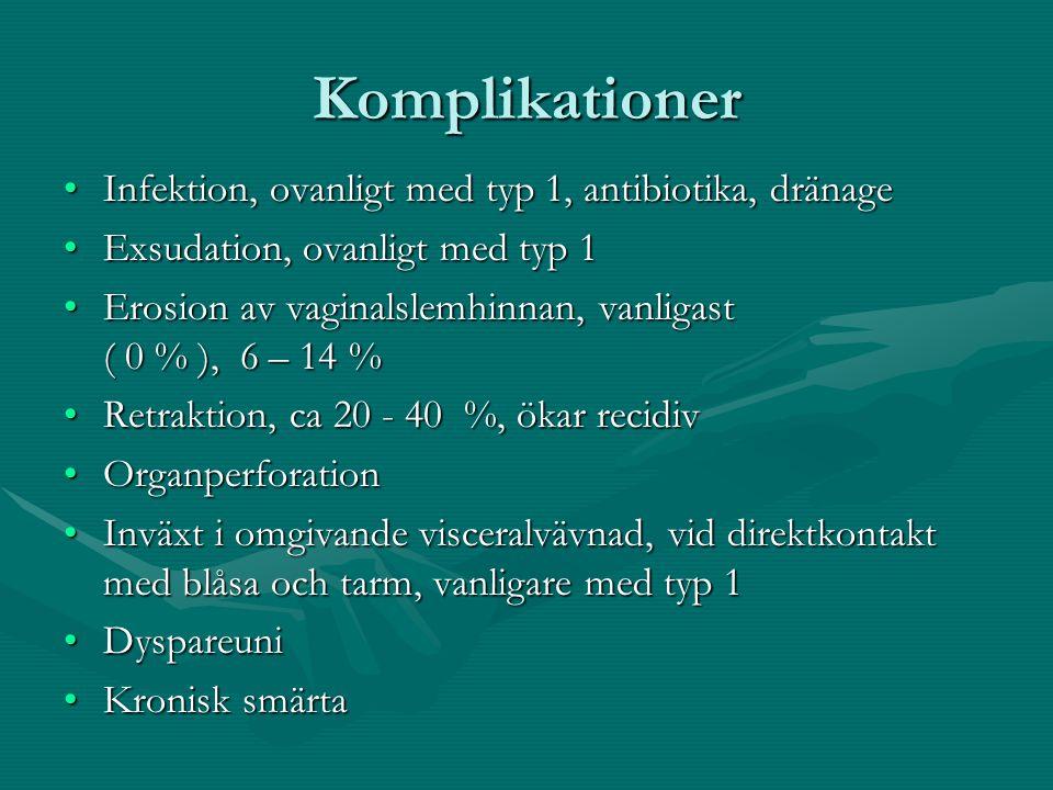 Komplikationer Infektion, ovanligt med typ 1, antibiotika, dränage