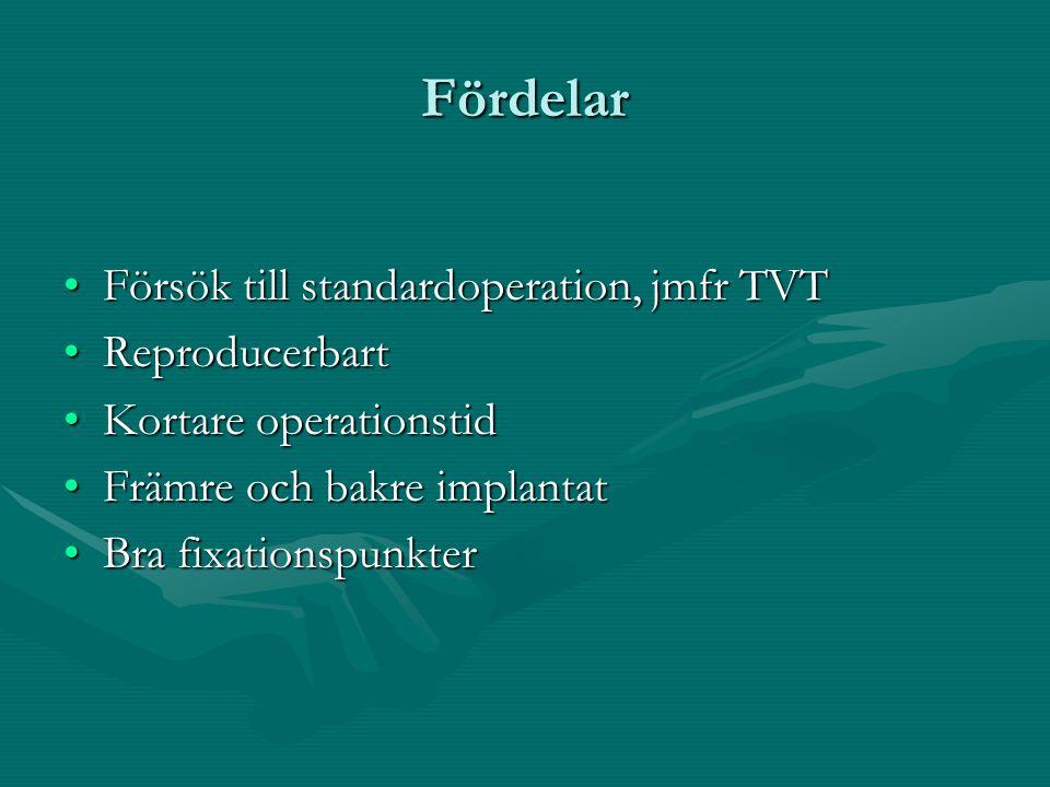 Fördelar Försök till standardoperation, jmfr TVT Reproducerbart