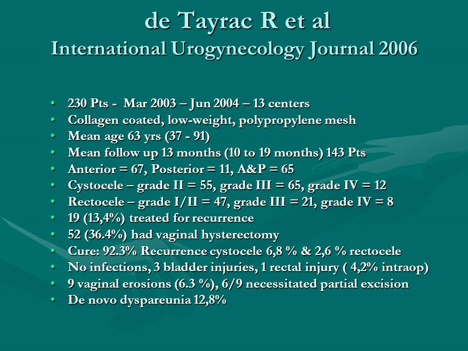 de Tayrac R et al International Urogynecology Journal 2006