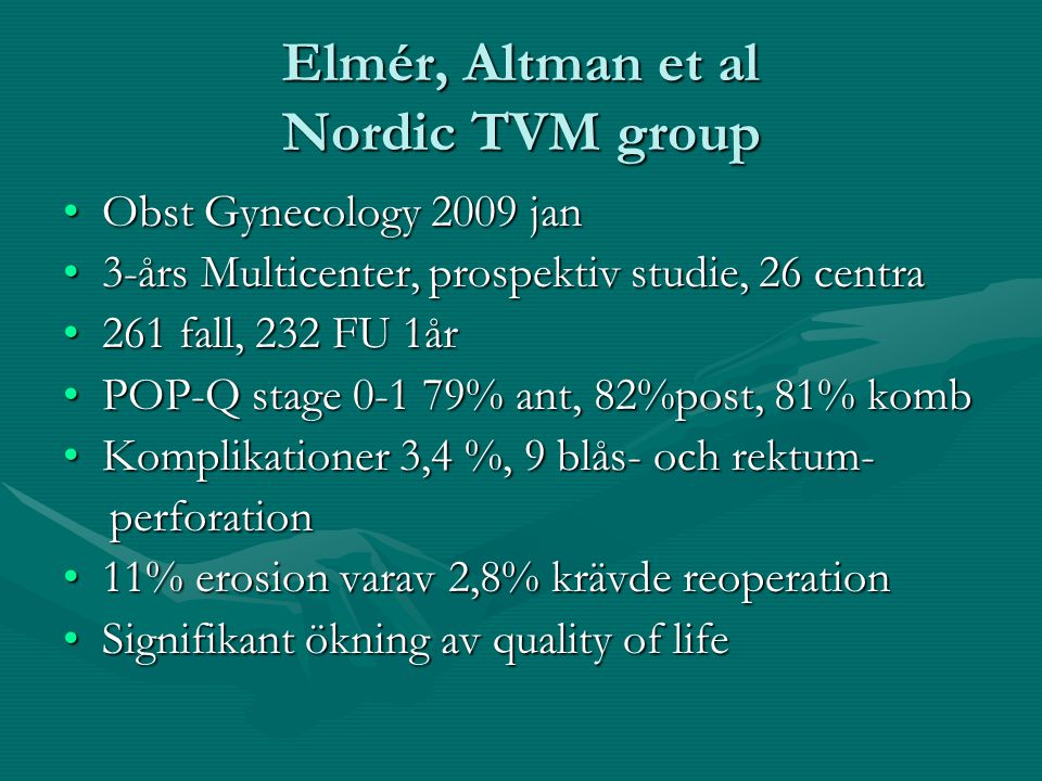 Elmér, Altman et al Nordic TVM group