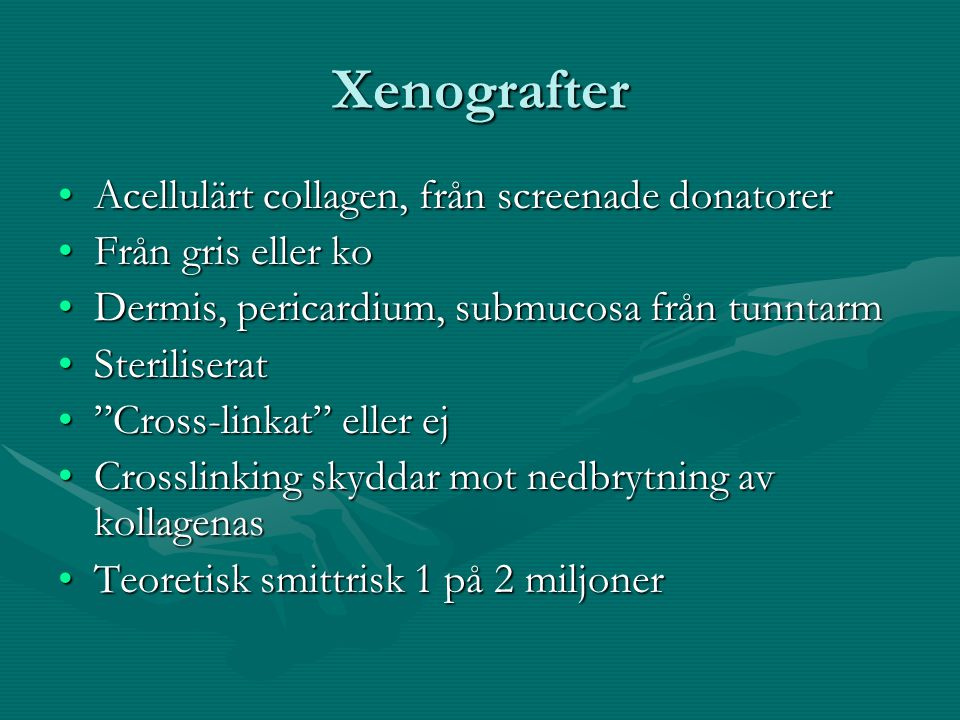 Xenografter Acellulärt collagen, från screenade donatorer