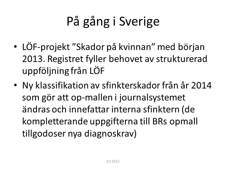 På gång i Sverige LÖF-projekt Skador på kvinnan med början 2013. Registret fyller behovet av strukturerad uppföljning från LÖF.