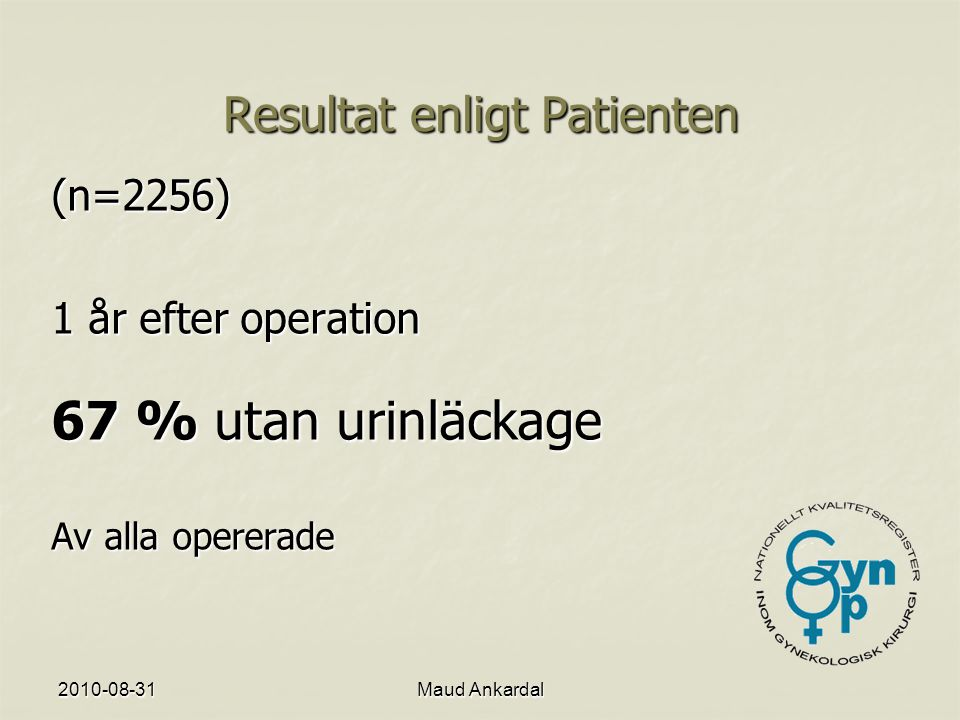 Resultat enligt Patienten