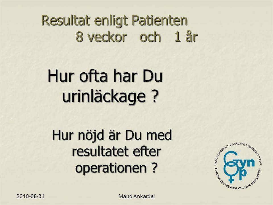Resultat enligt Patienten 8 veckor och 1 år
