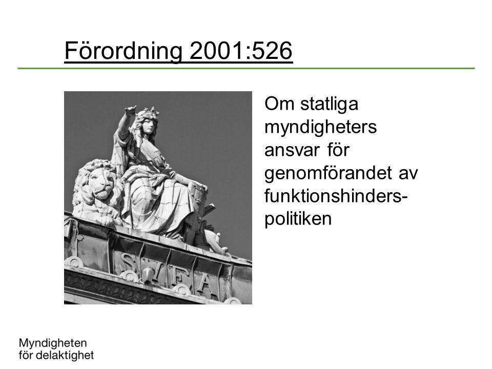 Förordning 2001:526 Om statliga myndigheters ansvar för genomförandet av funktionshinders- politiken.