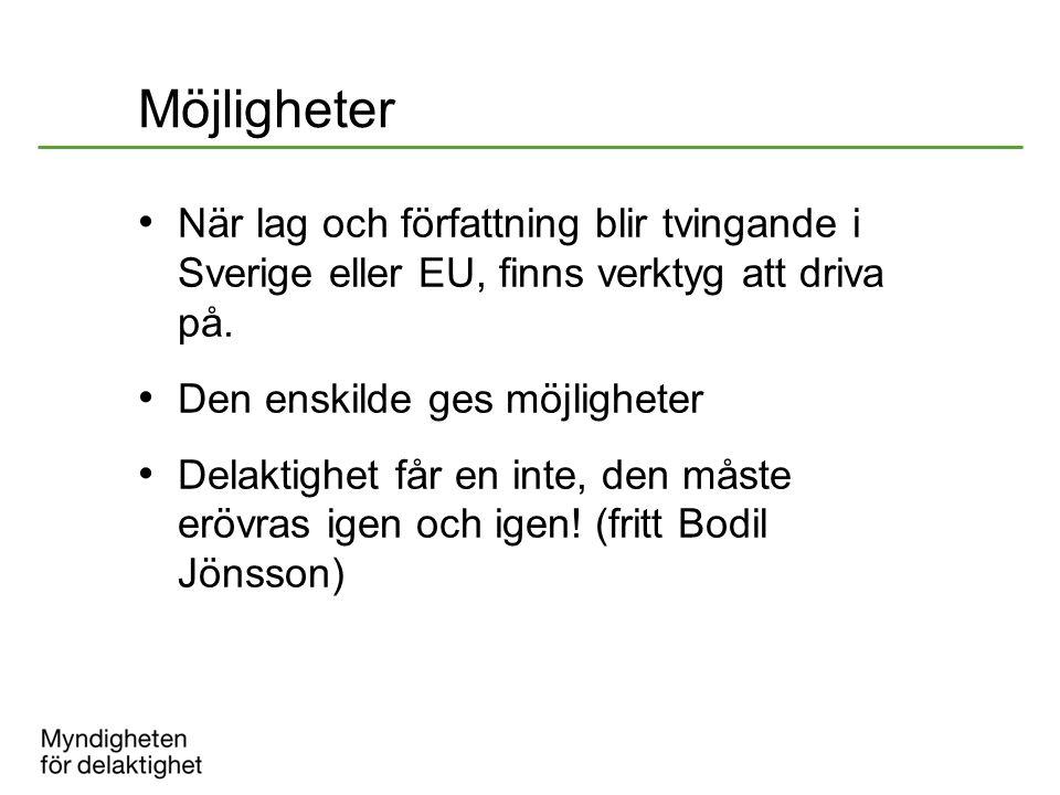 Möjligheter När lag och författning blir tvingande i Sverige eller EU, finns verktyg att driva på.
