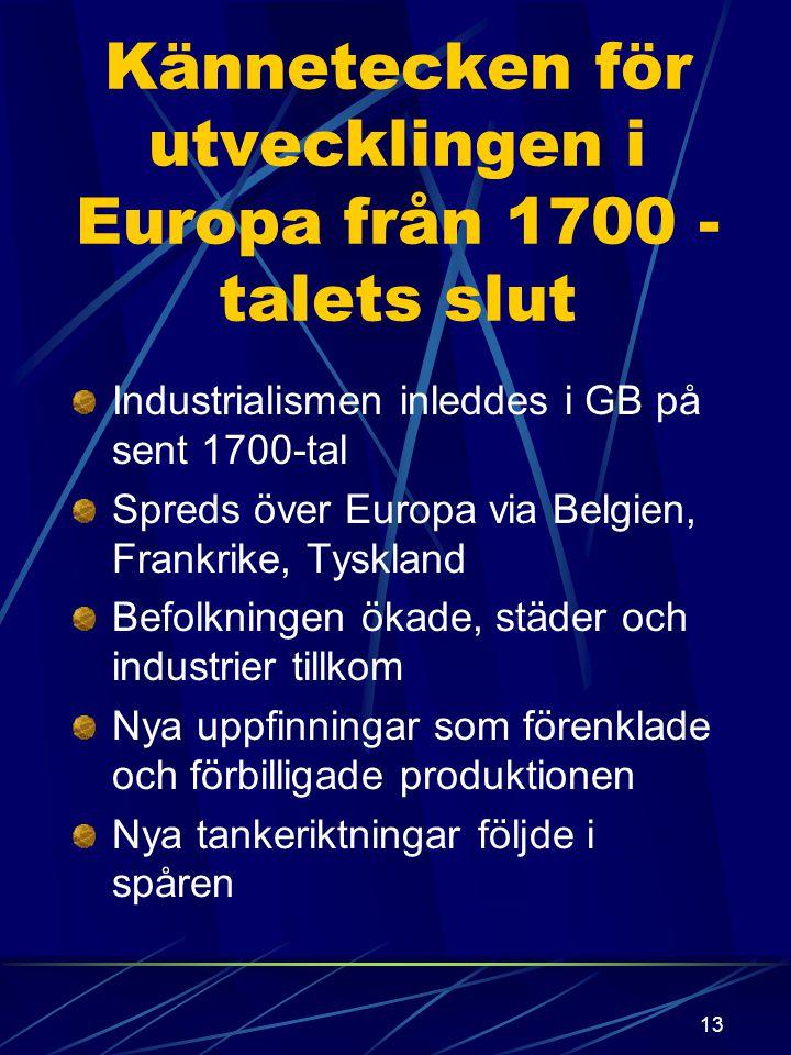 Kännetecken för utvecklingen i Europa från 1700 -talets slut