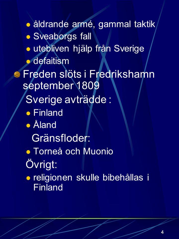 Freden slöts i Fredrikshamn september 1809 Sverige avträdde :