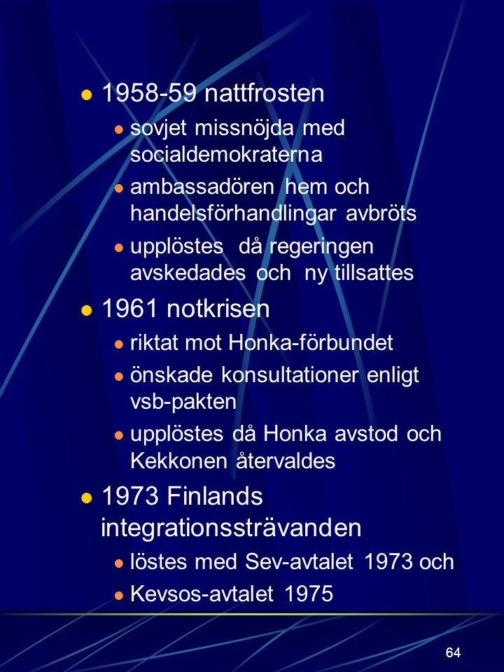 1973 Finlands integrationssträvanden